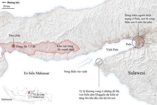 Khu vực xảy ra động đất và sóng thần tràn vào vịnh Palu. Đồ họa: New York Times.