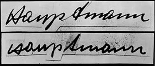 Chữ ký của Hauptmann và chữ ký phục dựng từ lá thư đòi tiền. Ảnh: FBI.