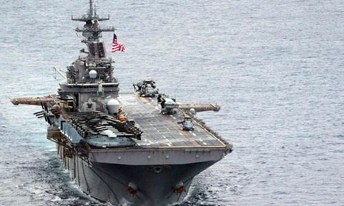 Tàu đổ bộ USS Wasp của Mỹ tham gia diễn tập ở Biển Đông. Ảnh: Stars and Strips.