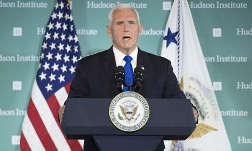 Phó tổng thống Mỹ Mike Pence phát biểu tại Viện nghiên cứu Hudson ở Washington hôm 4/10. Ảnh: AFP.