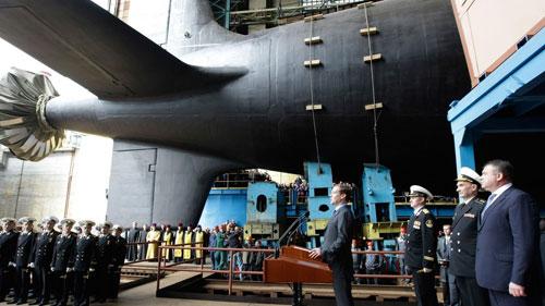 Tàu ngầm hạt nhân Kazan trong lễ hạ thủy năm 2017. Ảnh: DefenseNews.