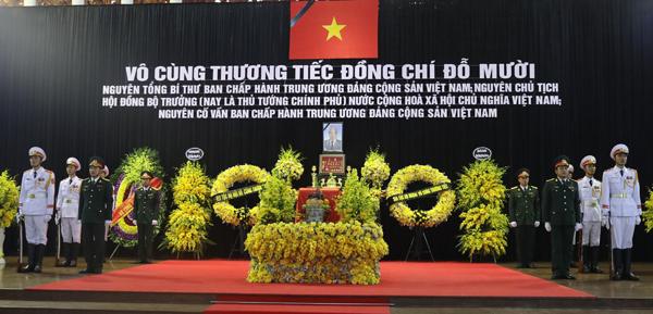 Linh cữu cố Tổng bí thư Đỗ Mười quàn tại Nhà tang lễ Quốc gia, Hà Nội. Ảnh: Ngọc Thành