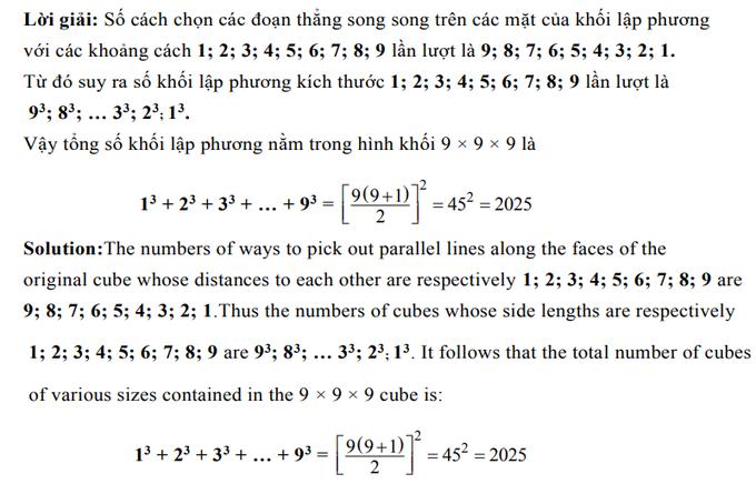 Đáp án bài toán đếm khối lập phương trong đề thi IMSO 2018