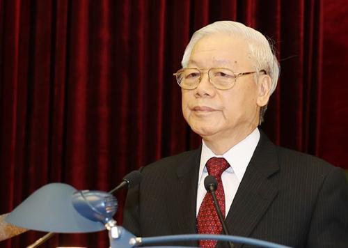 Tổng bí thư Nguyễn Phú Trọng phát biểu bế mạc Hội nghị Trung ương 8. Ảnh: TTX.
