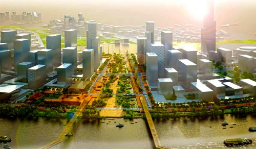 Nhà hát Giao hưởng, Nhạc và Vũ kịch đã được chốt xây dựng trong Khu đô thị Thủ Thiêm. Ảnh: Quỳnh Trần.