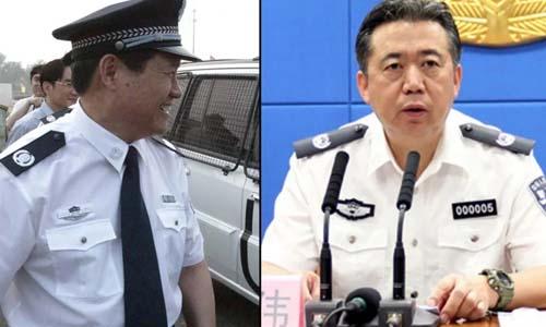Cựu trùm an ninh Trung Quốc Chu Vĩnh Khang (trái) và cựu chủ tịch Interpol Mạnh Hoành Vĩ. Ảnh: SCMP.