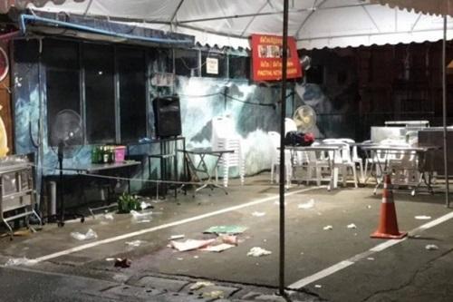 Hiện trường vụ nổ súng tối 7/10 ở quận Pratunam, trung tâm Bangkok. Ảnh: Nation.