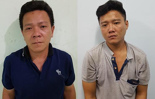 Phú và Hoàng tại cơ quan điều tra. Ảnh: Quốc Thắng.