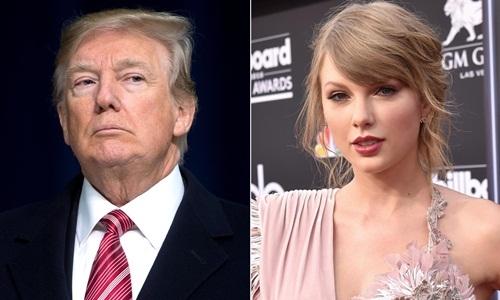 Tổng thống Mỹ Donald Trump (trái) và nữ ca sĩ Taylor Swift. Ảnh: People.