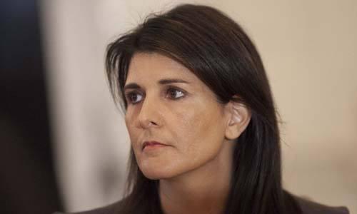 Đại sứ Mỹ tại Liên Hợp Quốc Nikki Haley tại Nhà Trắng hôm nay. Ảnh: AFP.