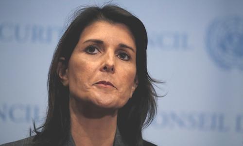 Đại sứ Mỹ lại Liên Hợp Quốc Nikki Haley ở New York ngày 10/9. Ảnh: Reuters.