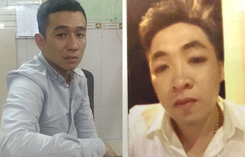 Thuận (trái) tại cơ quan điều tra và tên cướp còn lại đang bị truy bắt. Ảnh: Công an cung cấp.