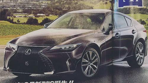 Ngoại hình chiếc IS thế hệ mới với thay đổi ở phần đầu xe trên một tạp chí ở Nhật Bản.