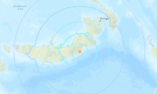 Vị trí xảy ra trận động đất mạnh 7 độ ở đảo New Britain, Papua New Guinea hôm nay. Ảnh: USGS.