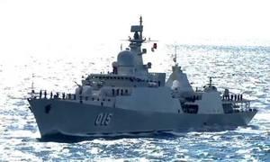 Chiến hạm Việt Nam trong lần đầu duyệt đội hình trên biển ở Hàn Quốc