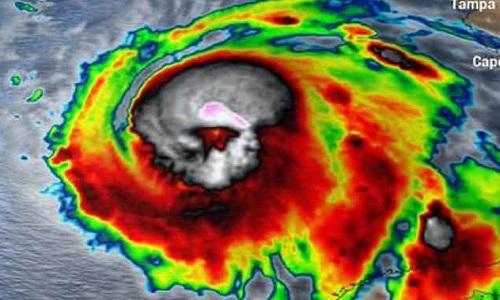 Bão Michael trong ảnh vệ tinh trước khi đổ bộ Florida. Ảnh: NOAA.