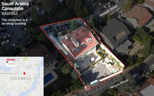 Vị trí tòa nhà lãnh sự quán Arab Saudi tại thành phố Istanbul, Thổ Nhĩ Kỳ. Ảnh: AP.