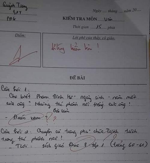 Bài kiểm tra bá đạo của học trò.