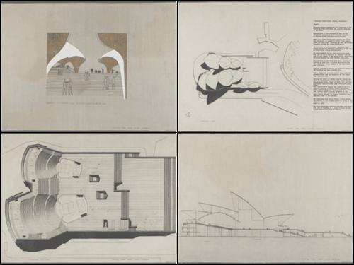Bản vẽ thiết kế nhà hát màJørn Utzon gửi dự thi. Ảnh: NSW.