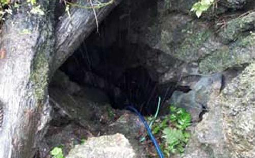 Hang đá nằm giữ rừng sâu ở Võ Nhai. Ảnh: Nam Nguyễn.