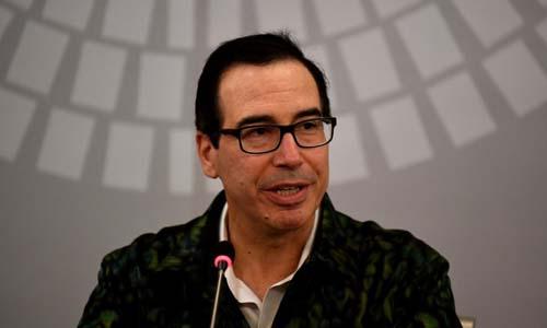Bộ trưởng Tài chính Mỹ Steven Mnuchin phát biểu trong cuộc họp báo tại Bali, Indonesia hôm nay. Ảnh: AFP.