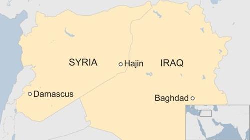 Vị trí thị trấn Hajin, Syria. Ảnh: BBC.