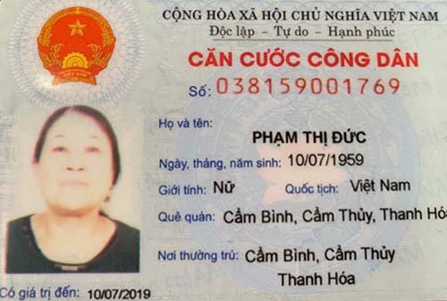 Hồ sơ nghi can Phạm Thị Đức do công an cung cấp.