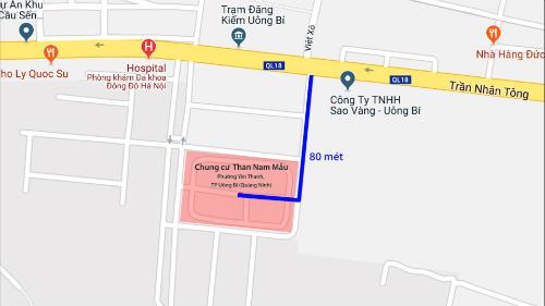 Vị trí khu chung cư bị đặt mìn cách quốc lộ 18A khoảng 70 mét.