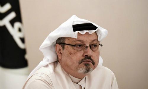 Nhà báo Khashoggi tại cuộc họp báo ở Bahrain tháng 12/2014. Ảnh: AFP.