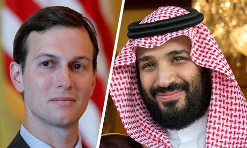 Jared Kushner (trái) và Thái tử Arab SaudiMohammed bin Salman