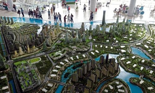 Mô hình dự án khu đô thị Forest City ở Malaysia. Ảnh: Reuters.