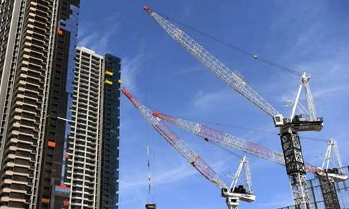 Công trình khu căn hộ ở Melbourne, Australia ngày 2/10. Ảnh: AFP.