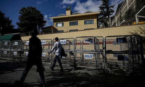 Lãnh sự quán Arab Saudi tại thành phố Istanbul hôm 7/10. Ảnh: AFP.