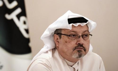 Jamal Khashoggi tại cuộc họp báo ở Bahraini tháng 12/2014. Ảnh:AFP.