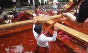 Bồn tắm khoáng như nồi lẩu ở Trung Quốc