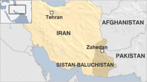 Vị trí tỉnh Sistan-Baluchistan ở đông nam Iran, giáp biên giới với Pakistan. Đồ họa:BBC.