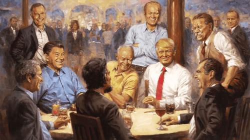 Bức tranh giả tưởngvẽ Tổng thống Mỹ Donald Trump (cà vạt đỏ) ngồi cùng các tổng thống đảng Cộng hòa. Ảnh: Andy Thomas.