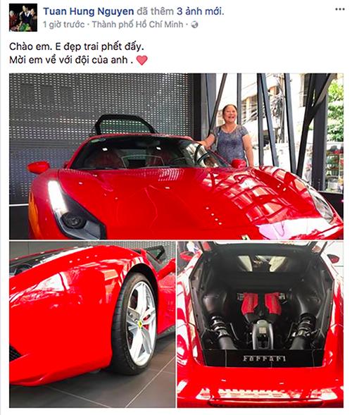Tuấn Hưng khoe siêu xe trên tài khoản mạng xã hội cách đây hơn 1 năm.