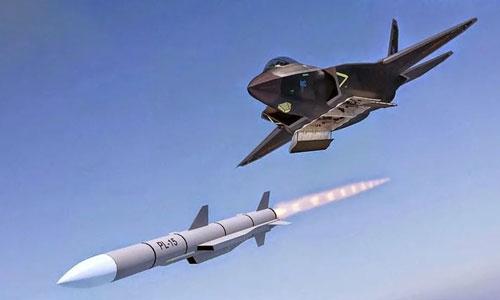 Hình ảnh mô phỏng tiêm kích J-31 Trung Quốc phóng tên lửa PL-15. Ảnh: Aviationist.