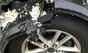 Lốp xe nổ như bom vì tài xế bơm hơi lóng ngóng