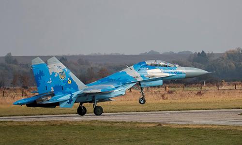 Tiêm kích Su-27 của Ukraine tham gia tập trận Clear Sky 2018. Ảnh: Reuters.
