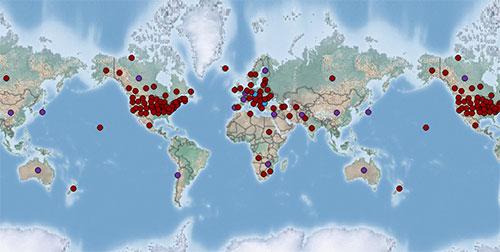 Bản đồ phân bố cây cỏ kế đồng trên khắp thế giới.