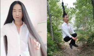 Chàng trai Trung Quốc nuôi tóc dài 1,2 m làm xích đu