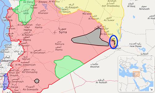 Thị trấn Hajin tại Syria (vùng được khoanh), nơi lực lượng do Mỹ hậu thuẫn triển khai chiến dịch truy quét khủng bố IS. Ảnh: SF.