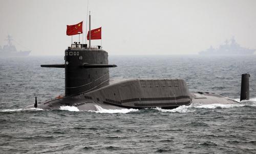Tàu ngầm Trung Quốc tham gia diễn tập hải quân năm 2014. Ảnh: Sina.