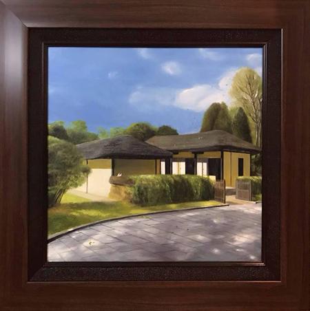 Bức tranh về ngôi nhà, nơi sinh ra Kim Nhật Thành, nhà lập quốc Triều Tiên. Ảnh: Đại sứ quán Việt Nam tại Triều Tiên.