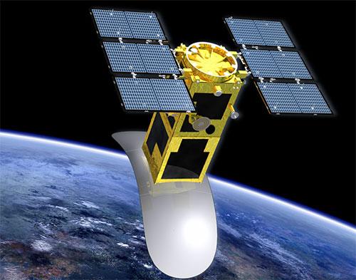 Hình ảnh mô phỏng vệ tinh LOTUSat-1 mà Dự án Phòng chống thiên tai và biến đổi khí hậu sử dụng vệ tinh quan sát trái đất sẽ chế tạo. Ảnh: JICA Việt Nam.