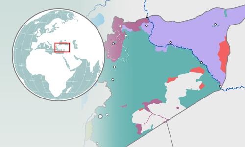 Lãnh thổ bị chia năm xẻ bảy của Syria. Bấm vào hình để xem chi tiết.
