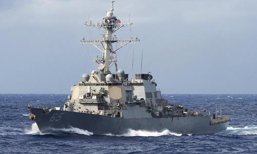 Tàu khu trục Mỹ đi qua eo biển Đài Loan hồi tháng 7/2018. Ảnh: US Navy.
