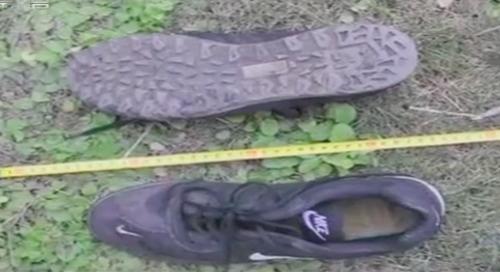 Đôi giầy cỡ 44 bị vứt ở bụi cây.